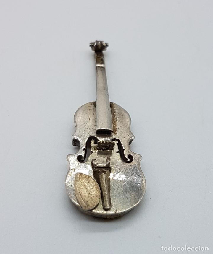 Joyeria: Violin antiguo a escala en plata de ley, hecho a mano por un artista joyero . - Foto 5 - 97883247