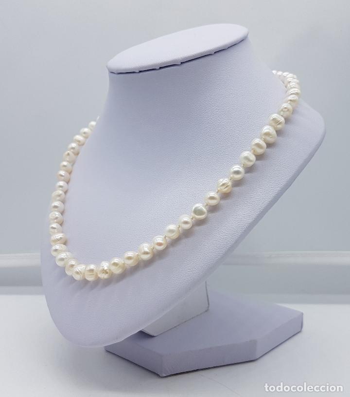 Joyeria: Elegante gargantilla vintage de perlas cultivadas autenticas con cierre de oro de 18k ( 750 ) . - Foto 2 - 97883475