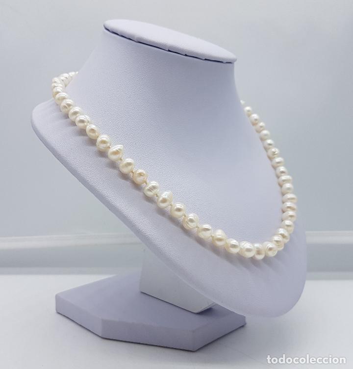 Joyeria: Elegante gargantilla vintage de perlas cultivadas autenticas con cierre de oro de 18k ( 750 ) . - Foto 3 - 97883475
