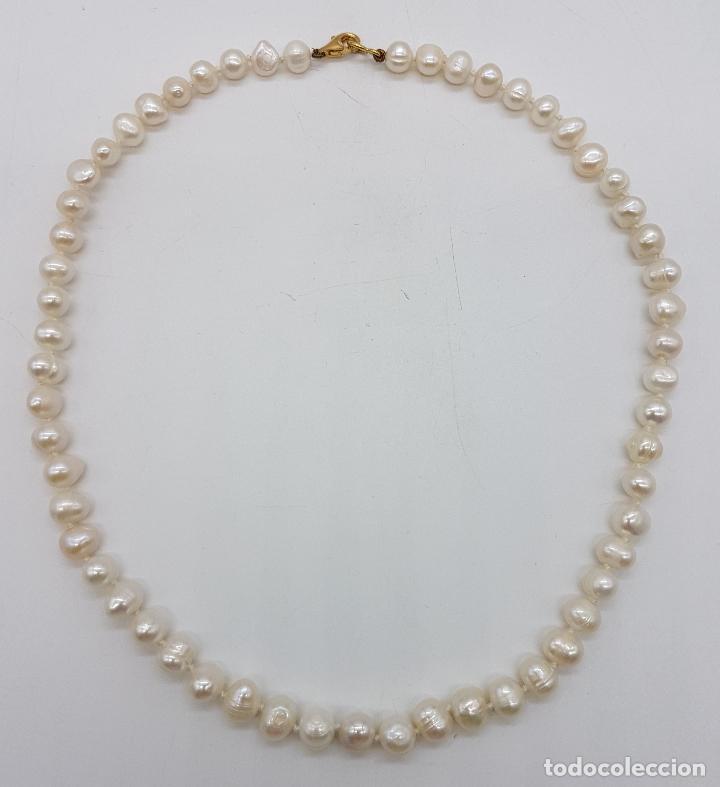 Joyeria: Elegante gargantilla vintage de perlas cultivadas autenticas con cierre de oro de 18k ( 750 ) . - Foto 4 - 97883475