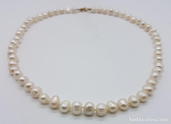 Joyeria: Elegante gargantilla vintage de perlas cultivadas autenticas con cierre de oro de 18k ( 750 ) . - Foto 5 - 97883475
