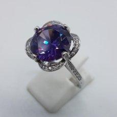 Jewelry - Gran sortija de estilo modernista en plata de ley, pavé de circonitas y amatista talla diamante . - 98237339