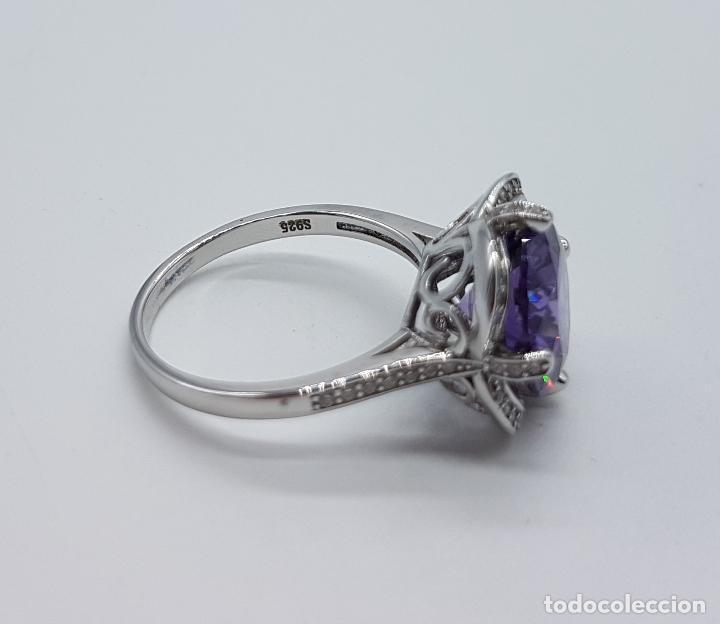 Joyeria: Gran sortija de estilo modernista en plata de ley, pavé de circonitas y amatista talla diamante . - Foto 7 - 98237339