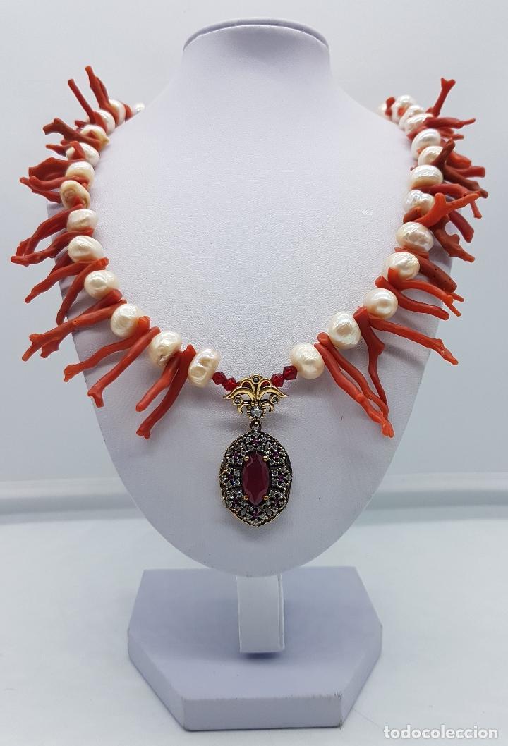 Joyeria: Espectacular gargantilla art deco de coral rojo del mediterráneo, perlas, plata de ley y rubies . - Foto 3 - 98240963