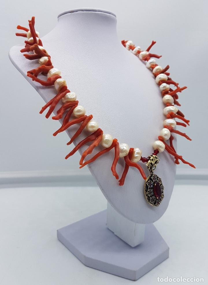 Joyeria: Espectacular gargantilla art deco de coral rojo del mediterráneo, perlas, plata de ley y rubies . - Foto 4 - 98240963