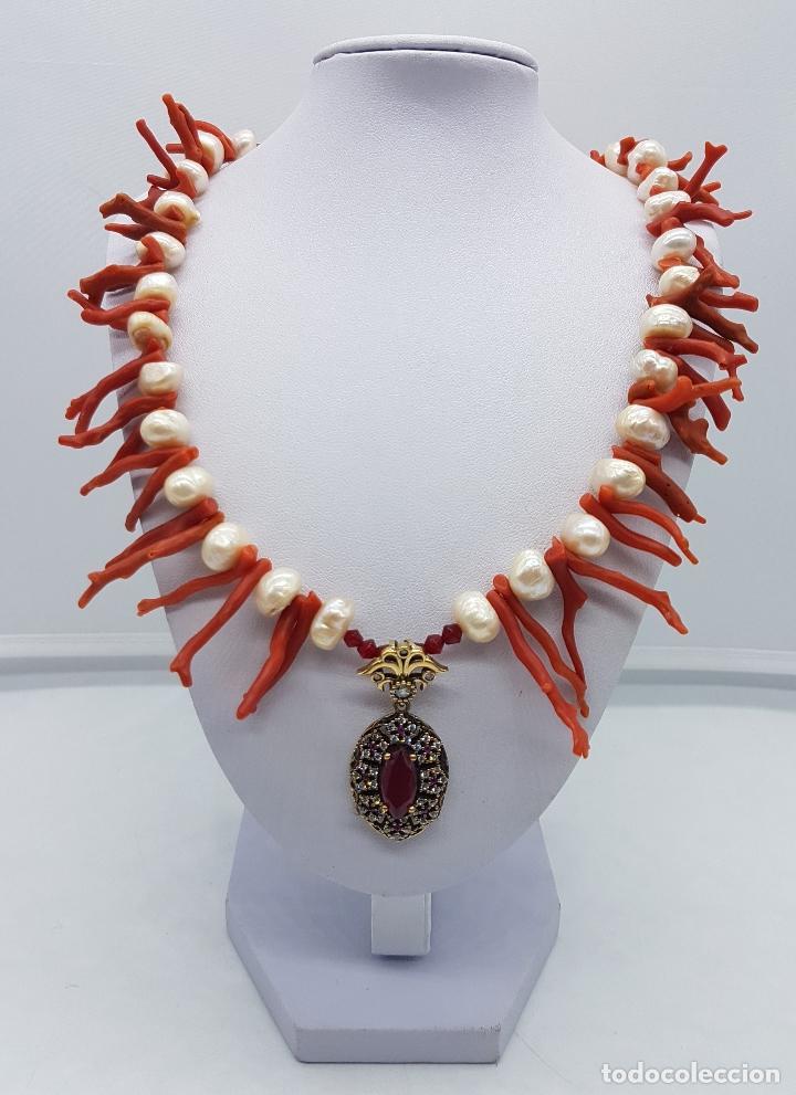 Joyeria: Espectacular gargantilla art deco de coral rojo del mediterráneo, perlas, plata de ley y rubies . - Foto 5 - 98240963