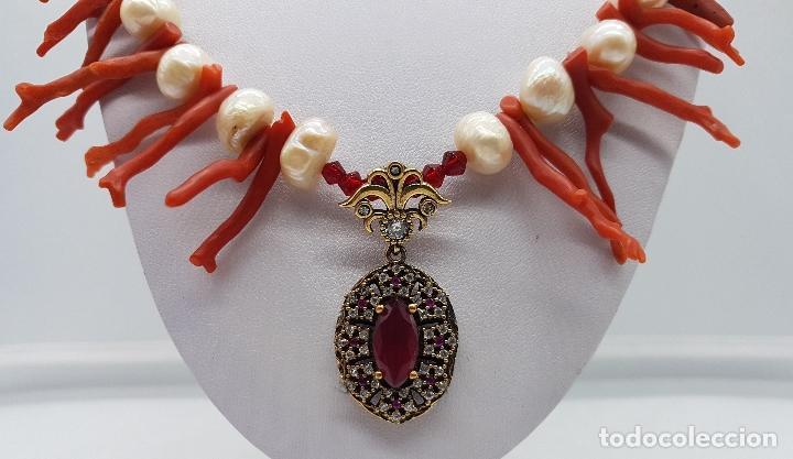 Joyeria: Espectacular gargantilla art deco de coral rojo del mediterráneo, perlas, plata de ley y rubies . - Foto 6 - 98240963