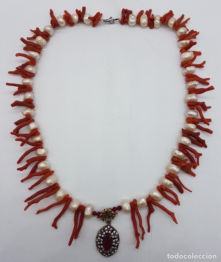 Joyeria: Espectacular gargantilla art deco de coral rojo del mediterráneo, perlas, plata de ley y rubies . - Foto 7 - 98240963