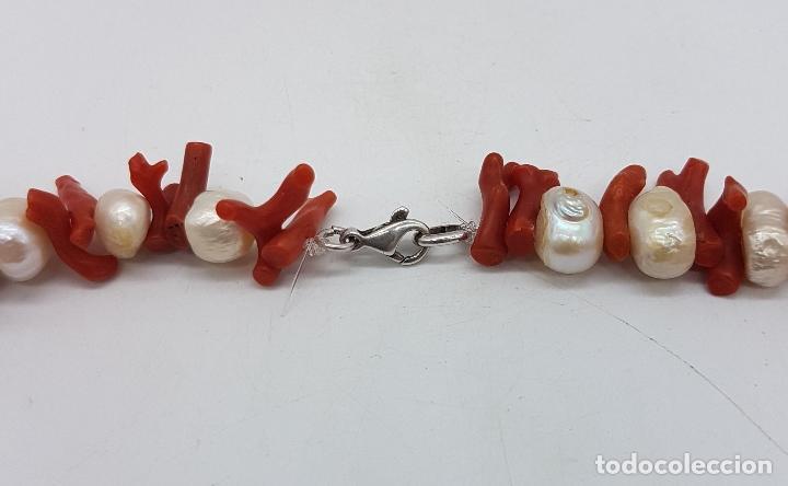 Joyeria: Espectacular gargantilla art deco de coral rojo del mediterráneo, perlas, plata de ley y rubies . - Foto 10 - 98240963