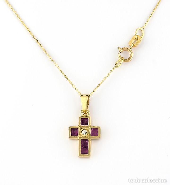 Joyeria: Collar con Colgante Diamantes y Rubíes en Oro de Ley 18K - Foto 2 - 98540775