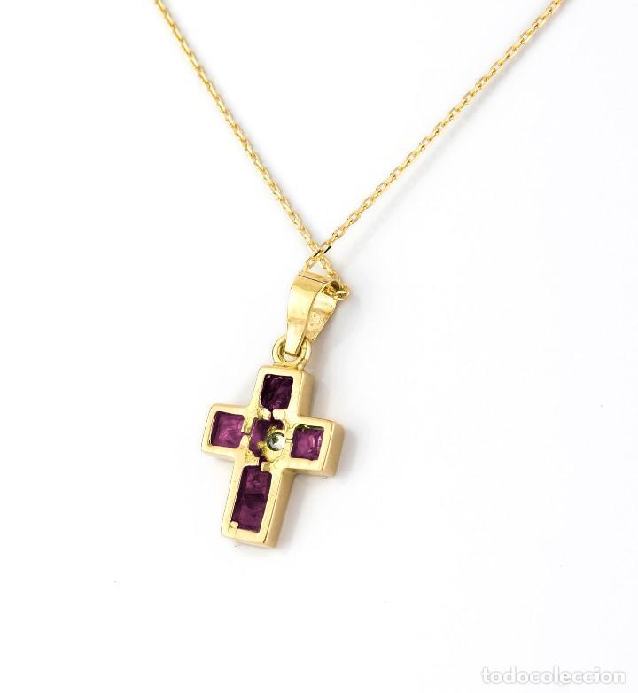 Joyeria: Collar con Colgante Diamantes y Rubíes en Oro de Ley 18K - Foto 4 - 98540775