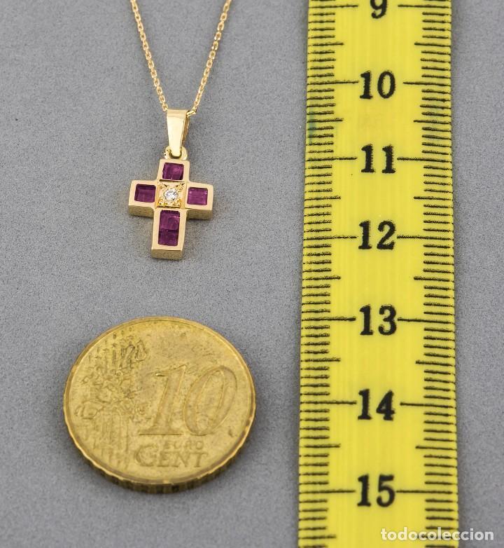 Joyeria: Collar con Colgante Diamantes y Rubíes en Oro de Ley 18K - Foto 5 - 98540775