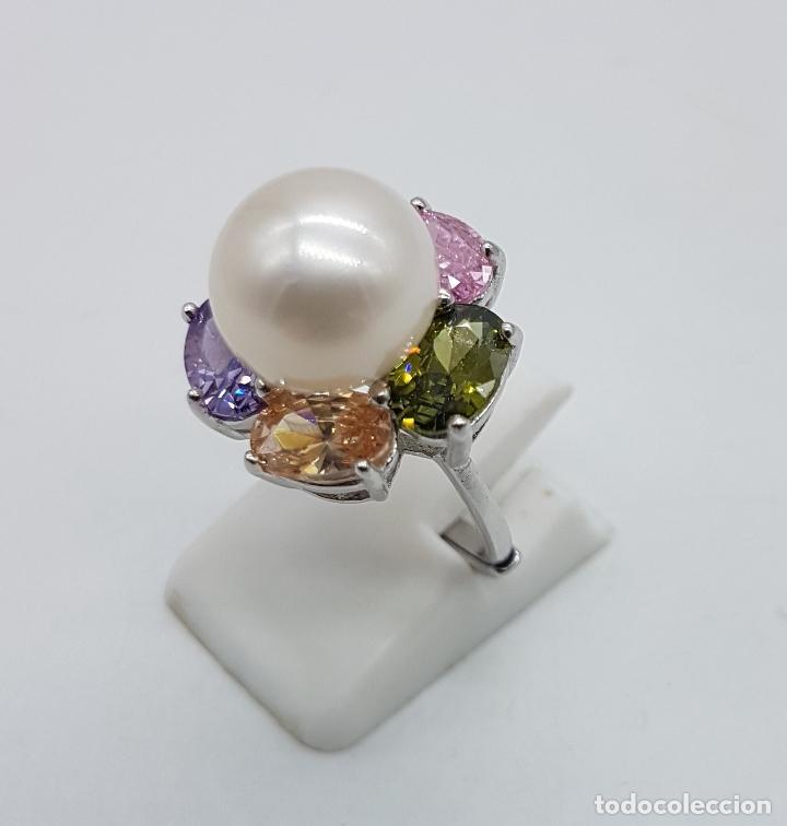 Joyeria: Gran sortija tipo vintage en plata de ley, piedras semipreciosas talla oval y perla de agua dulce . - Foto 2 - 155077294