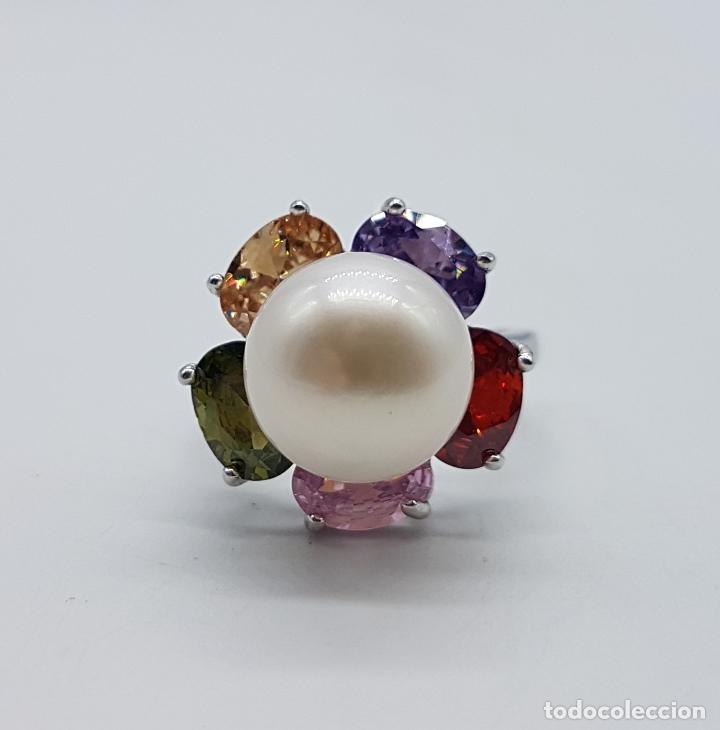 Joyeria: Gran sortija tipo vintage en plata de ley, piedras semipreciosas talla oval y perla de agua dulce . - Foto 3 - 155077294