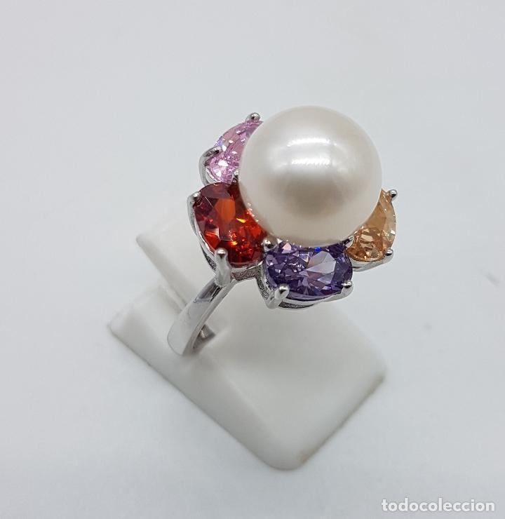 Joyeria: Gran sortija tipo vintage en plata de ley, piedras semipreciosas talla oval y perla de agua dulce . - Foto 4 - 155077294