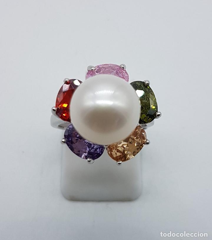 Joyeria: Gran sortija tipo vintage en plata de ley, piedras semipreciosas talla oval y perla de agua dulce . - Foto 5 - 155077294