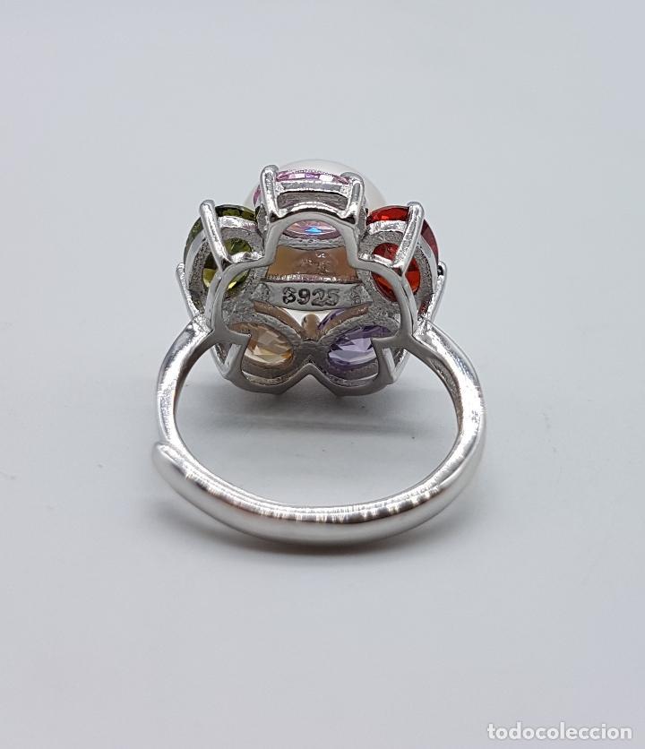 Joyeria: Gran sortija tipo vintage en plata de ley, piedras semipreciosas talla oval y perla de agua dulce . - Foto 6 - 155077294