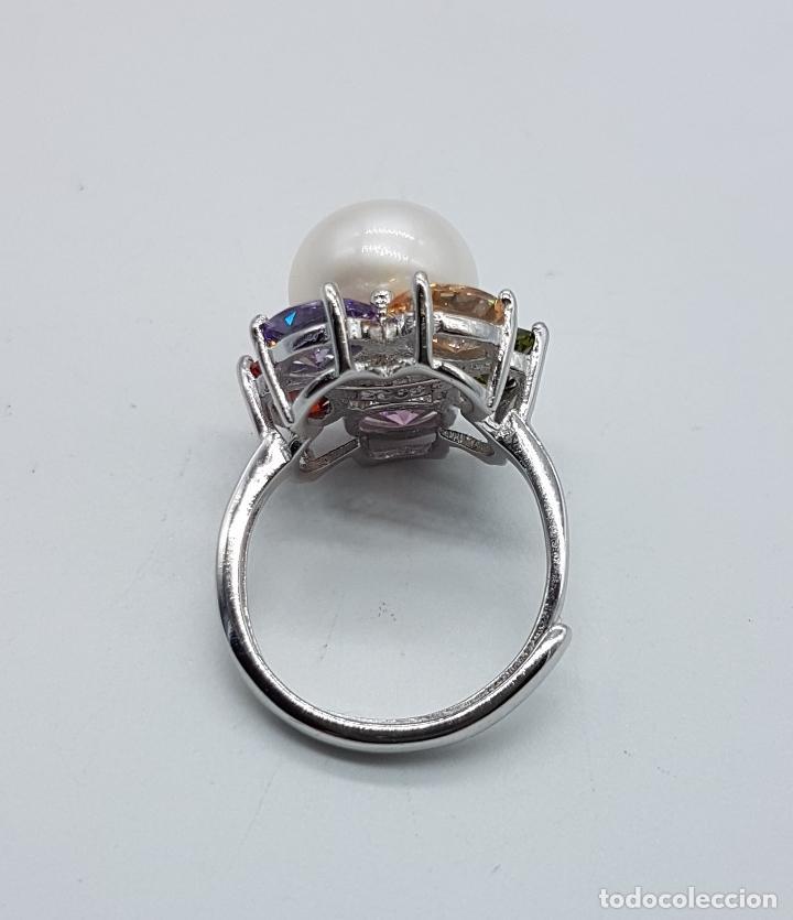 Joyeria: Gran sortija tipo vintage en plata de ley, piedras semipreciosas talla oval y perla de agua dulce . - Foto 7 - 155077294