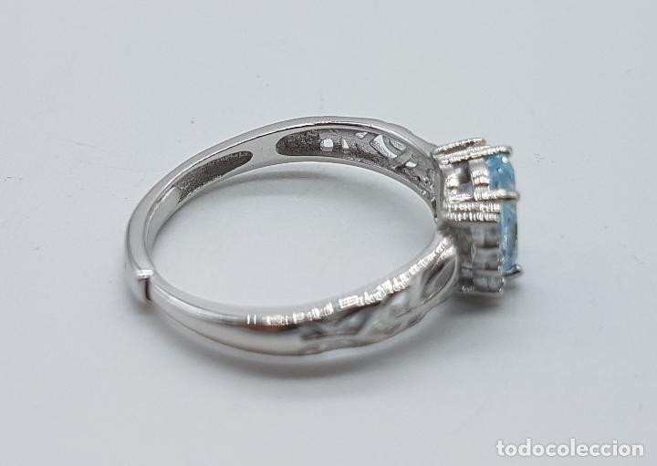Joyeria: Bella sortija de estilo clasico en plata de ley contrastada, aguamarina talla oval y circonitas . - Foto 5 - 154578069