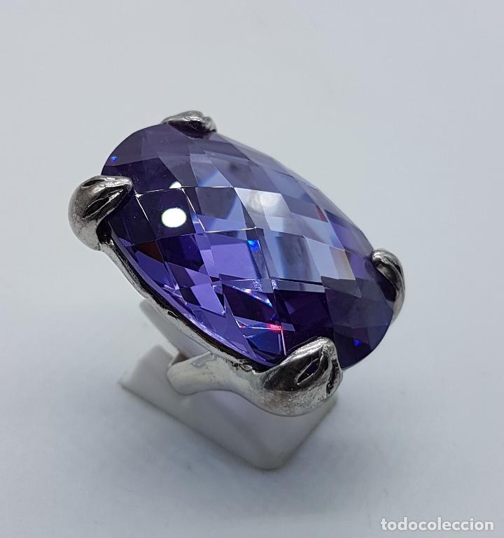 Joyeria: Espectacular anillo en plata de ley con gran amatista talla oval facetada sujeta por serpientes . - Foto 4 - 99396827
