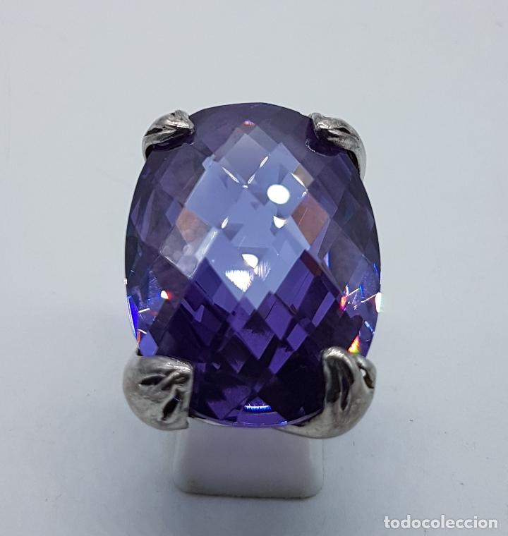 Joyeria: Espectacular anillo en plata de ley con gran amatista talla oval facetada sujeta por serpientes . - Foto 5 - 99396827