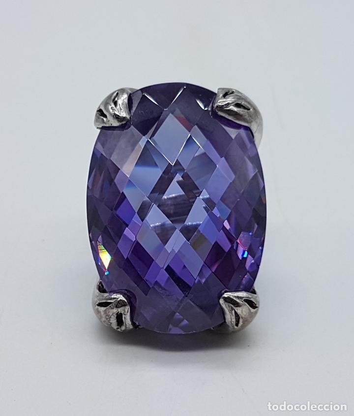 Joyeria: Espectacular anillo en plata de ley con gran amatista talla oval facetada sujeta por serpientes . - Foto 6 - 99396827