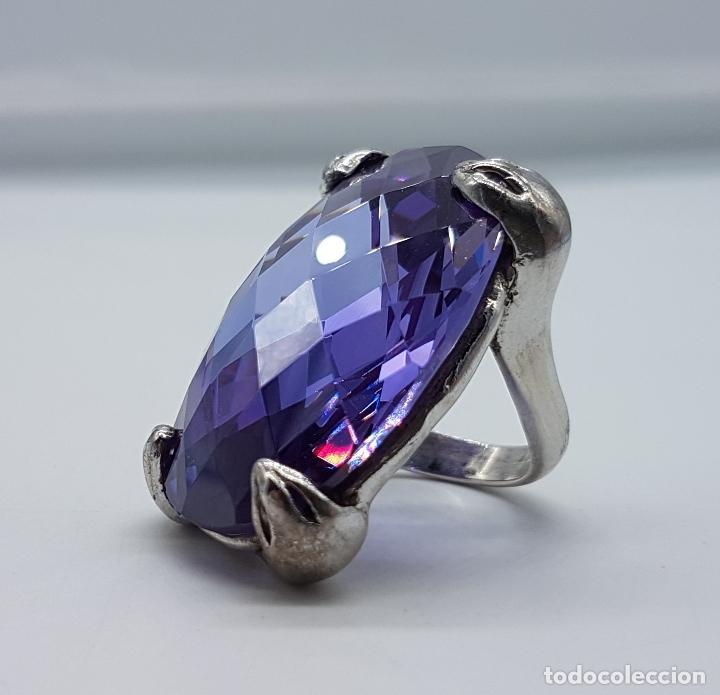 Joyeria: Espectacular anillo en plata de ley con gran amatista talla oval facetada sujeta por serpientes . - Foto 7 - 99396827