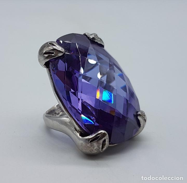 Joyeria: Espectacular anillo en plata de ley con gran amatista talla oval facetada sujeta por serpientes . - Foto 8 - 99396827