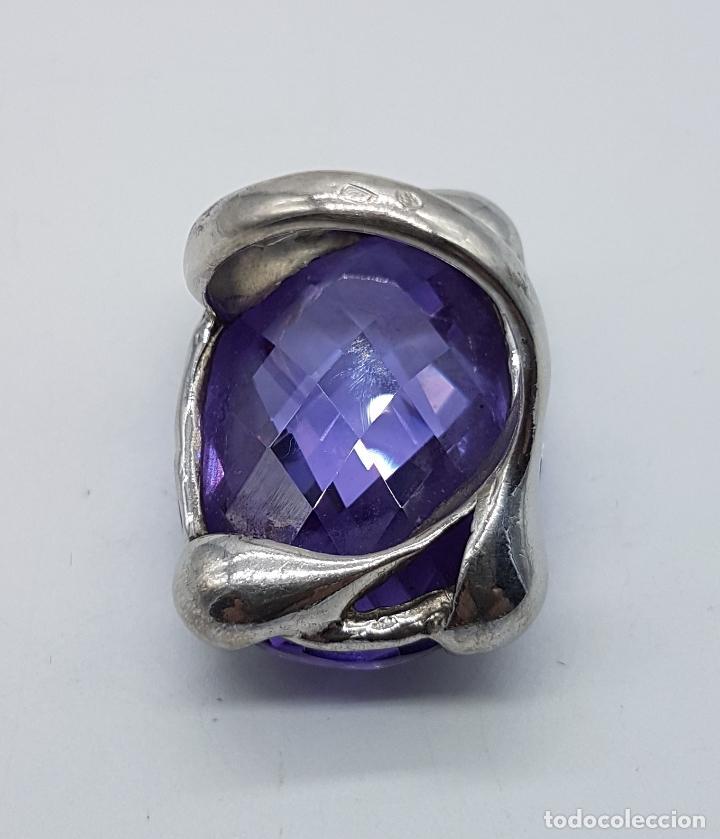 Joyeria: Espectacular anillo en plata de ley con gran amatista talla oval facetada sujeta por serpientes . - Foto 9 - 99396827