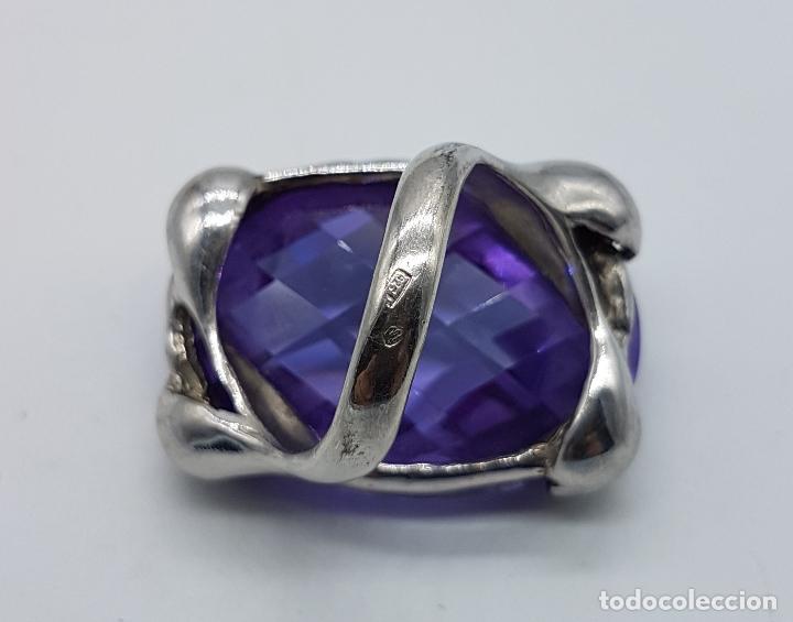 Joyeria: Espectacular anillo en plata de ley con gran amatista talla oval facetada sujeta por serpientes . - Foto 10 - 99396827