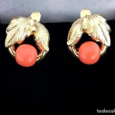 Jewelry - PENDIENTES DE ORO AMARILLO DE 18 KILATES Y GENUINO CORAL NATURAL - PUNZONES - 99509215