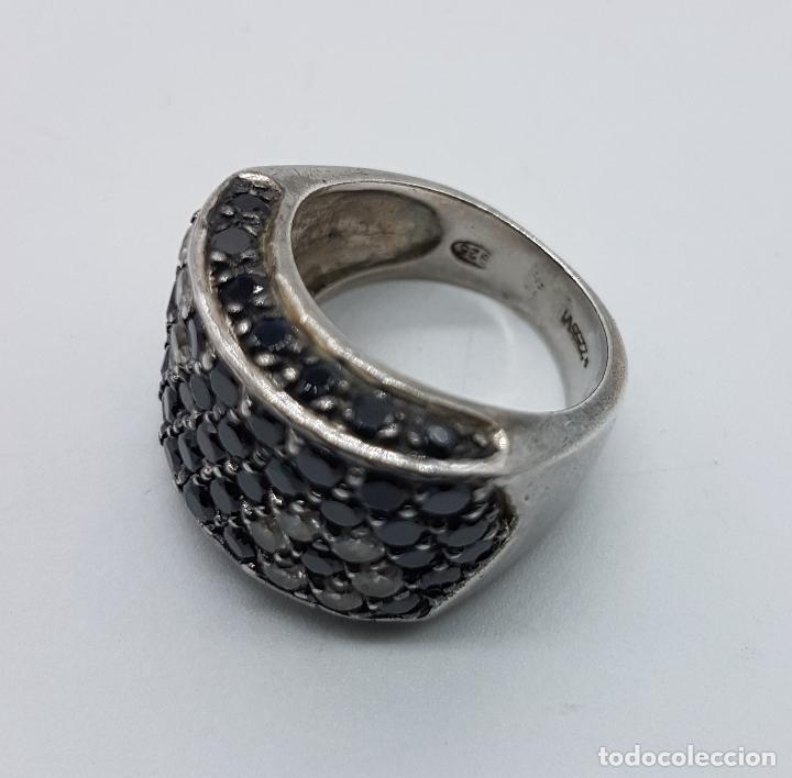 Joyeria: Magnífico anillo en plata de ley contrastada, azabaches y circonitas talla diamante engarzadas . - Foto 5 - 99830963