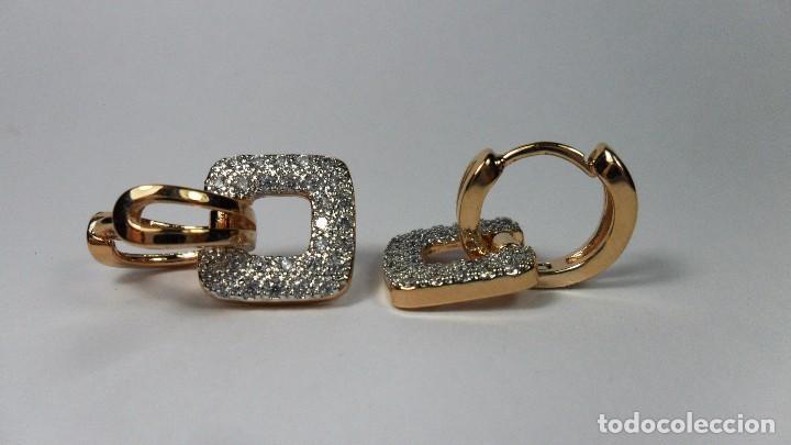 Joyeria: Pendientes en oro de 14 quilates, tipo aro con adorno engastados en pavés colgando - Foto 2 - 99849779