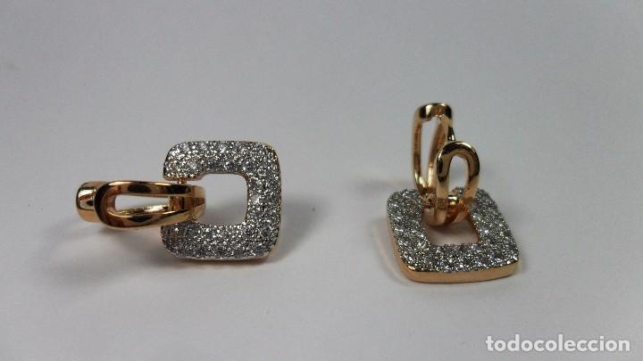 Joyeria: Pendientes en oro de 14 quilates, tipo aro con adorno engastados en pavés colgando - Foto 3 - 99849779