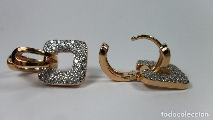 Joyeria: Pendientes en oro de 14 quilates, tipo aro con adorno engastados en pavés colgando - Foto 5 - 99849779