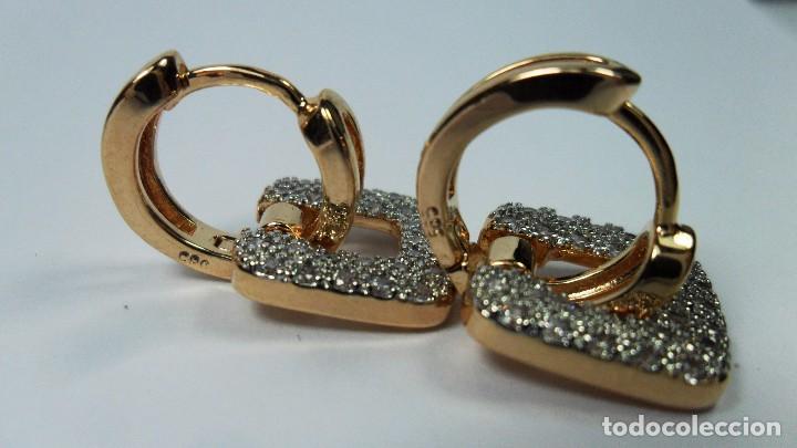 Joyeria: Pendientes en oro de 14 quilates, tipo aro con adorno engastados en pavés colgando - Foto 6 - 99849779