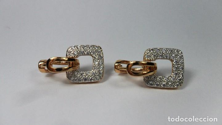 Joyeria: Pendientes en oro de 14 quilates, tipo aro con adorno engastados en pavés colgando - Foto 7 - 99849779