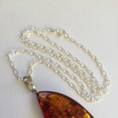 Joyeria - Collar de plata de ley 925 con colgante de ámbar Báltico. - 99854671