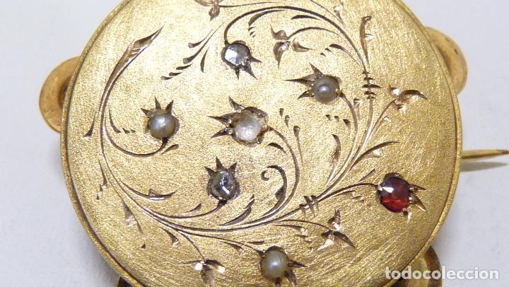 Joyeria: ANTIGUO BROCHE CON DIAMANTES Y PERLAS EN ORO DE 750MM. ca. 1900 - Foto 2 - 81579340