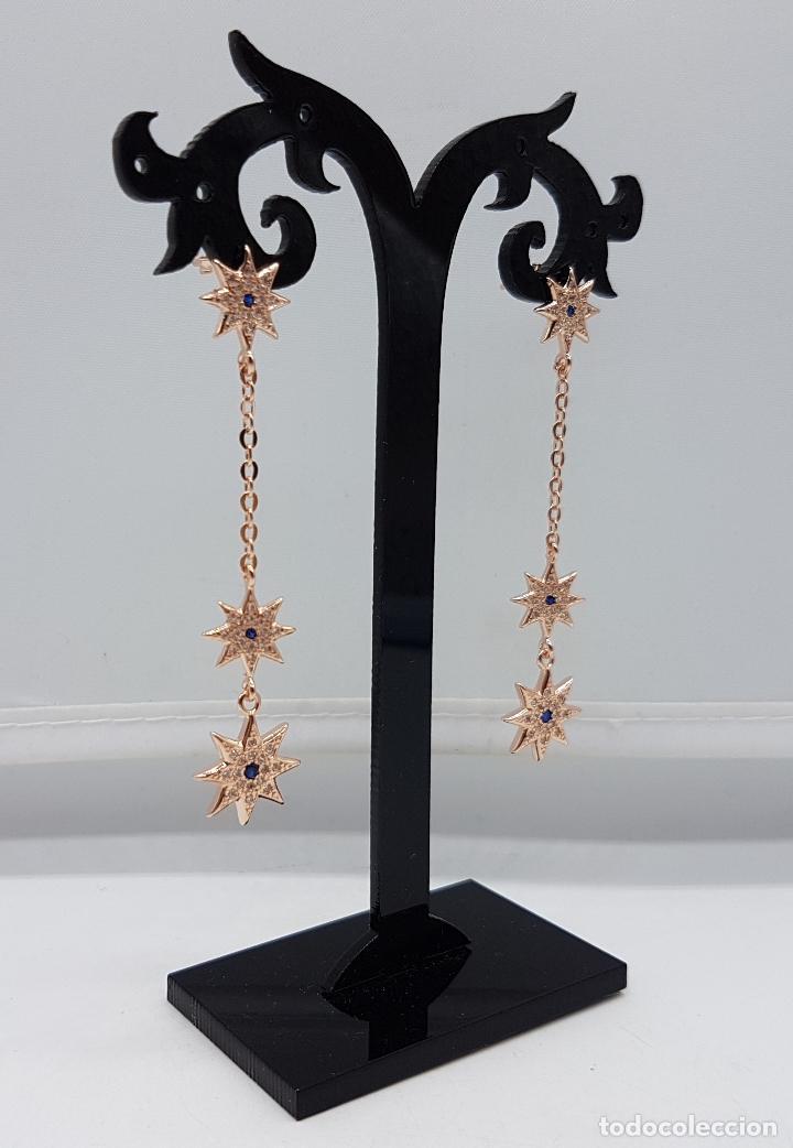 Joyeria: Bellos pendientes en plata de ley, oro de 18k, zafiros y pavé de circonitas talla brillante . - Foto 2 - 100048315
