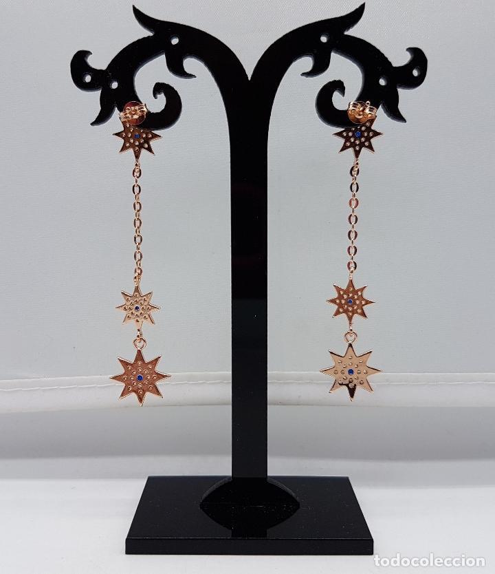 Joyeria: Bellos pendientes en plata de ley, oro de 18k, zafiros y pavé de circonitas talla brillante . - Foto 3 - 100048315