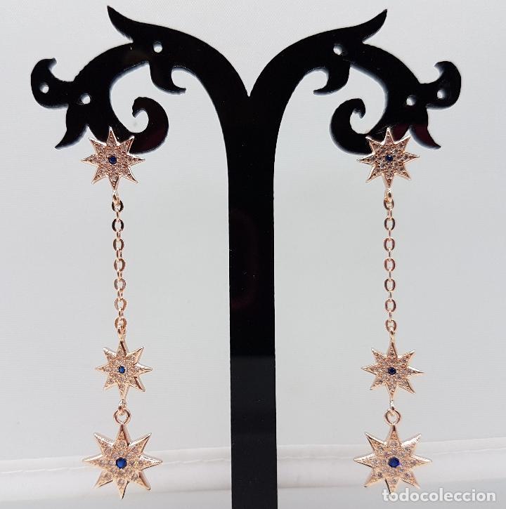 Joyeria: Bellos pendientes en plata de ley, oro de 18k, zafiros y pavé de circonitas talla brillante . - Foto 4 - 100048315