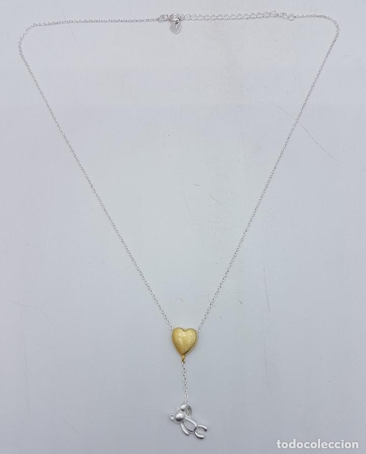Joyeria: Original gargantilla en plata de ley contrastada con corazón bañado en oro de 18k y oso . - Foto 2 - 163129074