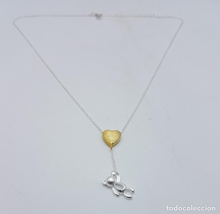 Joyeria: Original gargantilla en plata de ley contrastada con corazón bañado en oro de 18k y oso . - Foto 3 - 163129074