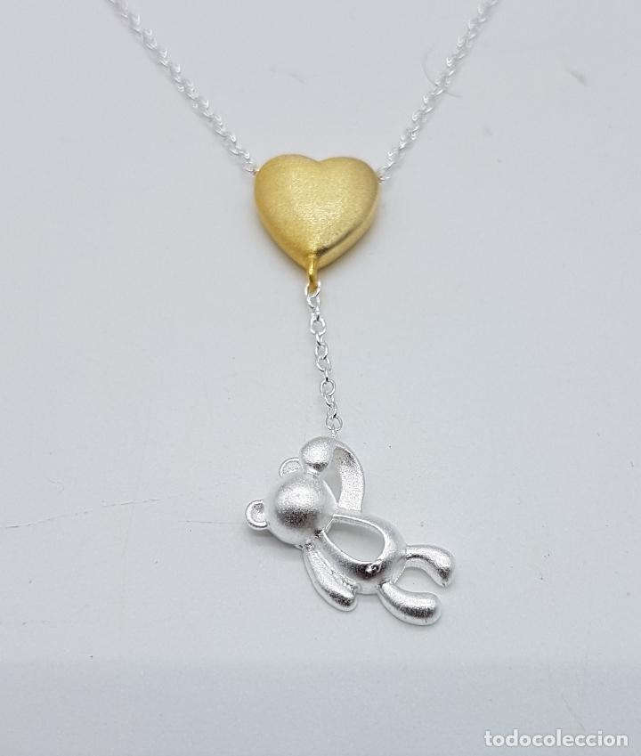 Joyeria: Original gargantilla en plata de ley contrastada con corazón bañado en oro de 18k y oso . - Foto 4 - 163129074
