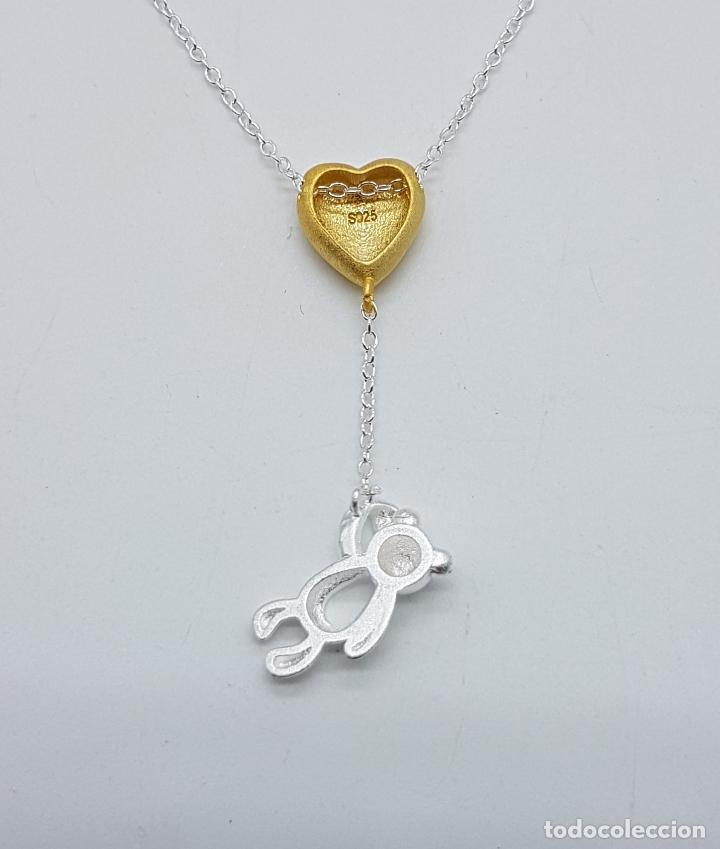 Joyeria: Original gargantilla en plata de ley contrastada con corazón bañado en oro de 18k y oso . - Foto 5 - 163129074