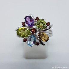 Jewelry - Sortija de estilo modernista en plata de ley, aguamarina, amatista, granates, citrino y peridotos . - 138629840