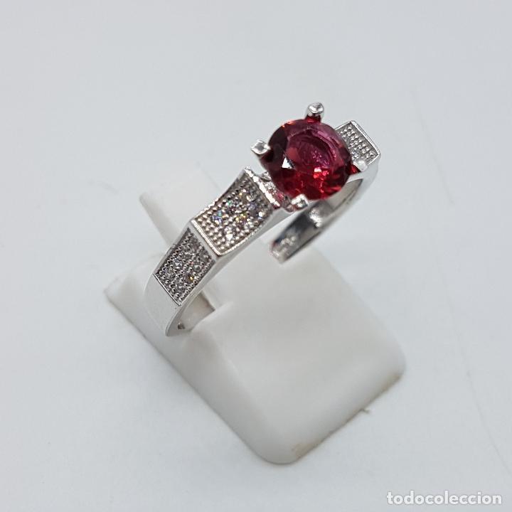 Joyeria: Sortija tipo art deco solitario en plata de ley, topacio rosa talla diamante y circonitas . - Foto 4 - 100404315