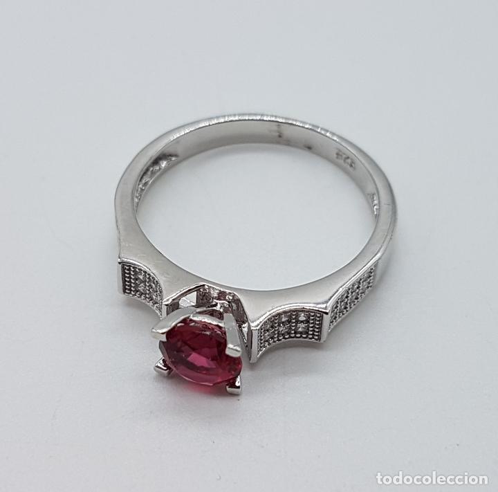 Joyeria: Sortija tipo art deco solitario en plata de ley, topacio rosa talla diamante y circonitas . - Foto 6 - 100404315