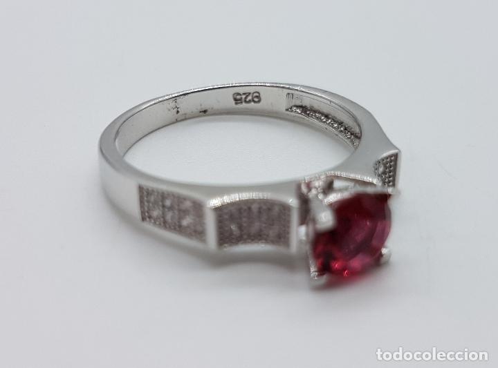Joyeria: Sortija tipo art deco solitario en plata de ley, topacio rosa talla diamante y circonitas . - Foto 7 - 100404315